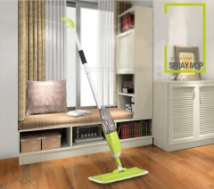 Spray water Mop Aluminium Pole Microfiber 360 degree Multifunction rotate mop Green one size