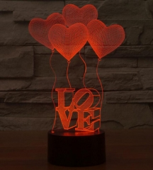 Night Light 3D Visual Bulb Optical Illusion Colorful LED Table Lamp Touch Romantic Colorful One size