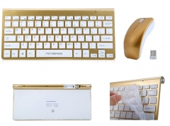 Motospeed G9800 Ultra-thin 2.4G 1200DPI Wireless Keyboard and Optical Mouse Combo Golden One size