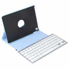 Wireless Bluetooth Keyboard Stylus Pen 360 Degree Rotating PU Leather Smart Case Cover Lake Blue One size