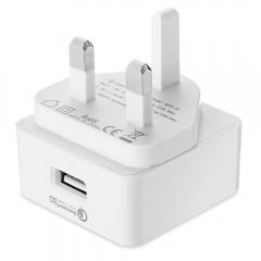ORICO QCK - 1U 18W QC 2.0 Single USB Smart Wall Charger UK PLUG White One Size