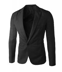 Men Slim Fit Business Casual Premium Blazer Jackets Black M