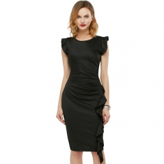 Elegant Pencil Dress Women's Retro Ruffles Cap Sleeve Slim Business Pencil Cocktail Ladies Dresses Black S