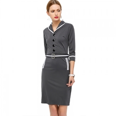 Ladies Dress Elegant Fashion Fly Button Lapel Women Closed-fitting Dress Gray S