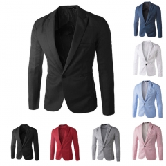 Men Slim Fit Business Casual Premium Blazer Jackets Black M