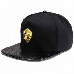 Lion head decoration peaked cap hip-hop style Baseball Cap Hat fashionable men and women Black one size