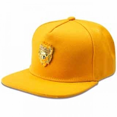 With the diamond lion head pattern Fashion hip-hop style fashion hat peaked cap and hat Yellow one size