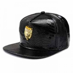 Inlaid diamond lion head pattern Fashion hip-hop style fashion fashion leather cap and cap Black one size