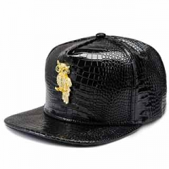 Hats & Caps Owl pattern top hat fashion men and women hip hop style baseball cap fashion leather cap Black one size