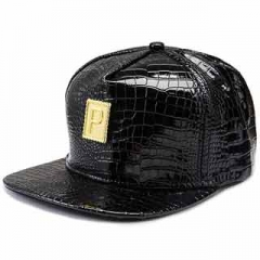 "Hats & Caps New letter ""P"" fashion hip hop twist cap fashion men and women leather cap Black one size"
