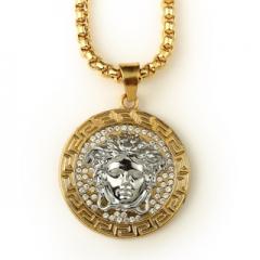 18K gold silver gilt double color diamond necklace trend of Medusa