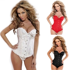 Women Body Shaper tight Vintage Corset  Waist- Cincher Breast Lifter  White