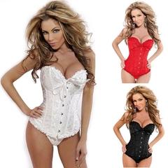 Women Body Shaper tight Vintage Corset  Waist- Cincher Breast Lifter  White