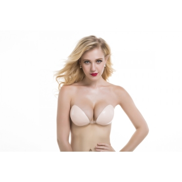 D Cup Sexy woman Push Up Self-Adhesive Silicone Bust Front Closure Strapless Invisible bra