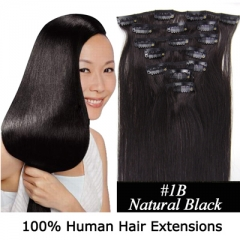 15 inch 7pcs set 70g Clip-in hair remy Human Hair Extensions 25 Colors For Women Beauty #1B Natural black 15 inch