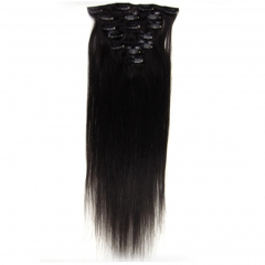 20 inch 7pcs set 70g Clip-in hair remy Human Hair Extensions 25 Colors For Women Beauty #1B Natural black 20 inch