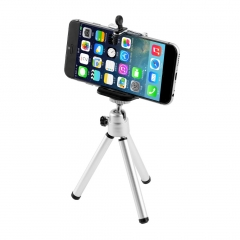 Universal Mini Stand Tripod Mount+Holder for iPhone 6 Smart Phone black&silver 1 pcs