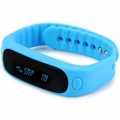 E02 Smart Bluetooth 4.0 Watch Bracelet Call Reminder Sleep Management Anti-lost Camera Pedometer Blue One Size