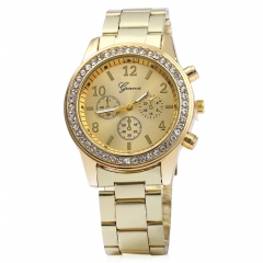 Men Women Rhinestone Quartz Watch Steel Band Decorative Three Sub-dials golden one size