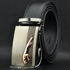 Automatic Buckle Mens Waistband Real Genuine Leather Belts
