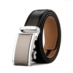 Fashion Automatic Buckle Mens Waistband Real Genuine Leather Belts BLACK