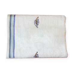 70x125cm 100% Cotton Towel Home Using  Blue Bath Towels for Adults Embroidered natural color Towels