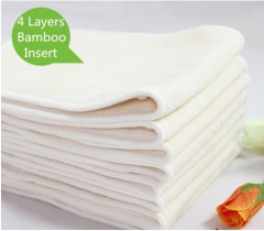10 Pcs 4 Layers Bamboo Insert Reusable Washable Breathable  For Baby Cloth Diapers Nappy White one size