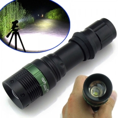 7W 3 Modes XPE Flat Focusing Zoomable LED Tactical Flashlight Torch Camping Lamp Black Black One Size 7W