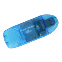 USB 2.0 SDHC / SD / MMC Memory Card Reader Writer to Adapter for 1GB 2GB 4GB 8GB Blue one size one size