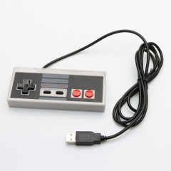 2Pcs USB Gaming Controller for Nintendo NES 8 Bit System Console Black&Gray