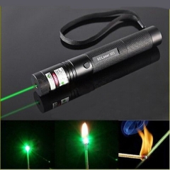 Adjustable Focus 5mw 532nm Green Laser Pointer Pen Powerful Strong Beam Light with Key black no