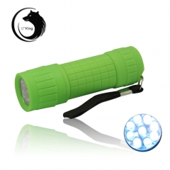 Mini ZQ-HS10 9-LED 200LM 1-Mode LED Flashlight White Light Waterproof green one size