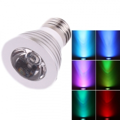 5x E27 Color Changing 3W RGB Bulb LED Spotlight Lamp 85-265V + IR Remote Control as picture one size 3w
