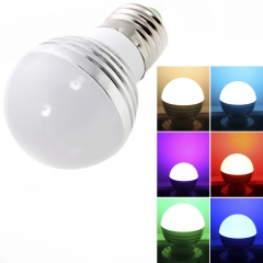 2Pcs E27 3W 85-265V Magic Bulb RGB Color Changing LED Light w/ IR Remote Control as picture one size 3w