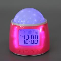 Romantic Music Galaxy Star Projector Digital Alarm Clock Pink Gift Light Pink one size no
