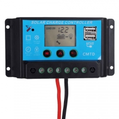 10A 12V/24V PWM Solar Panel Battery Auto Controller Charge Regulator With 2 USB blue no