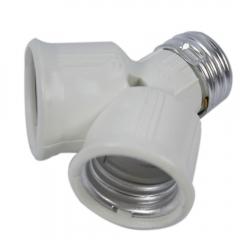 New E27 to 2x E27 Led CFL Light Lamp Bulb Adapter Converter Socket Splitter white one size no
