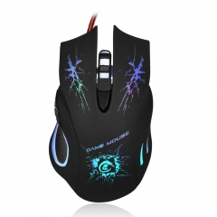 5500 DPI Computer Wired Gaming Mouse USB Colorful LED Light Optical Game Mice black one size