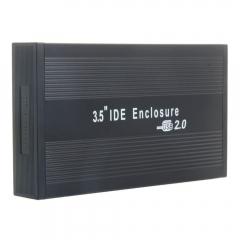 "New 3.5"" IDE Aluminum HDD Hard Drive Enclosure USB 2.0  External Case black one size"
