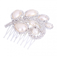 Charming Leaf Style Bridal Princess Hair Comb Party Jewelry silver one size