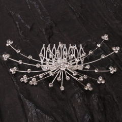 Exquisite Rhinestone Hair Comb Pin silver one size