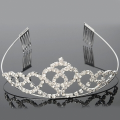 Wedding Bridal Pageant Love Style Rhinestone Crown Hair Comb Pin Tiara Silver