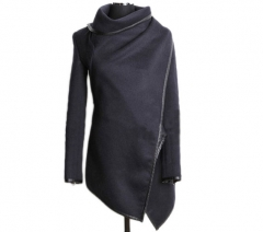 Women Fit Wool Trench Long Coat Jacket Parka Outwear Windbreaker Dark Gray XXL