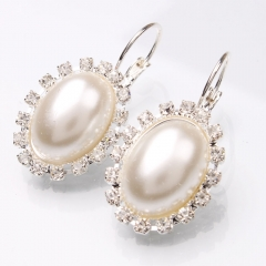 Large Oval Shaped Pearl Rhinestone Dangle Earrings