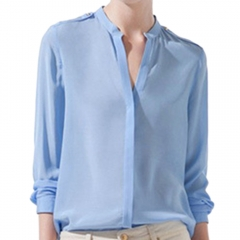 Fashion Pure Color Sexy Lady Long Sleeve Blended Cotton Women's Shirt Blue S