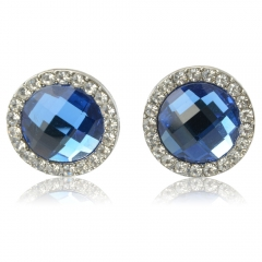 2Pcs Fashionable Round Rhinestone Alloy Stud Earrings Blue