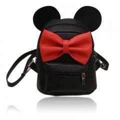 Fashion Women PU Leather Bowknot Backpack Rucksack Shouder Mini Bag Handbag black one size