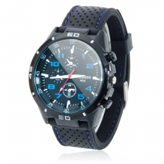 Luxury Men Three Eyes New Business Gift Sports Leather Quartz Wrist Watch Black & Blue one size