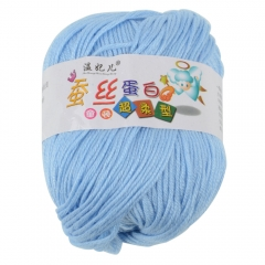 Smooth Worsted Sweater Soft Natural Silk Wool Fiber Baby Yarn Skein Ball Lot 50g blue 50g