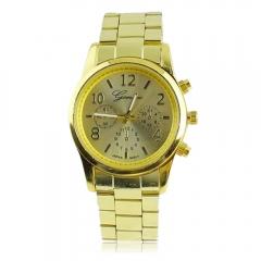Fashion Golden Band Steel Stainless Hours Wrist Watch Quartz Mens Womens golden one size